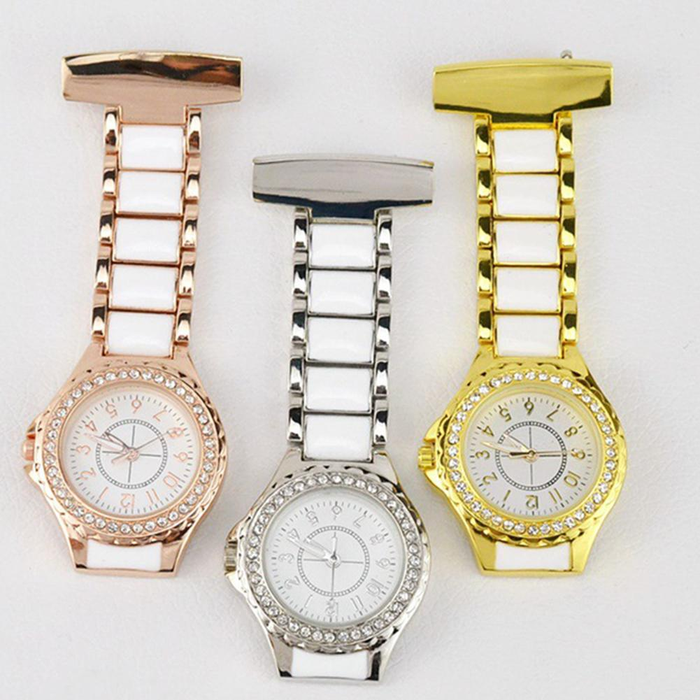 Fashion Unisex Rhinestone Waterproof Pocket-watch Round Dial Arabic Number Analog Quartz Nurse Watch Doctor Watch Medical Watch