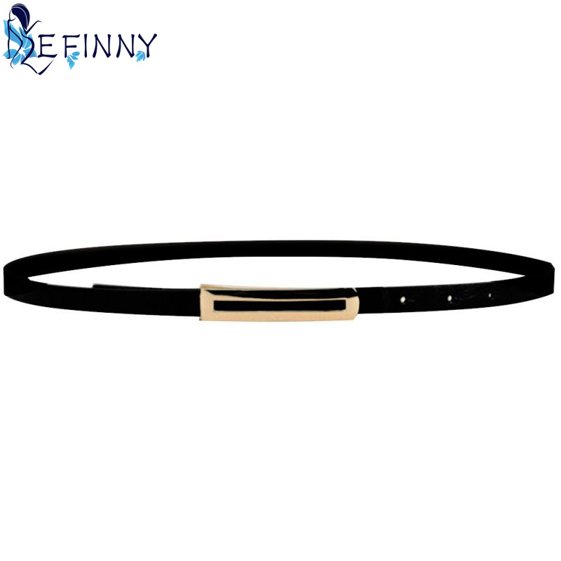 Adjustable Waistband Strap Women PU Leather Skinny Narrow Thin Buckle Waist Belt