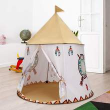 Children Indian Princess Toy Tent Castle Playhouse Indoor Outdoor House Tent for Kids Kid's Play Round Tent with Storage Bag