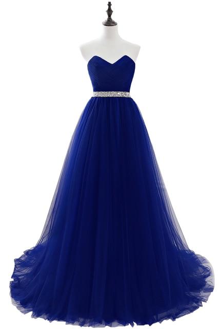 Купить длинные вечерние платья королевского синего цвета 2020 без бретелек картинки