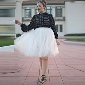 Image 2 - Zomer Joker Tutu Rok Vrouwen Plus Size Geplooide Groene Jupe Femme Faldas Rokken Custom Made 7 Lagen Tulle 5XL