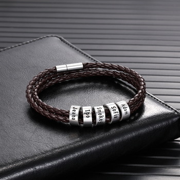 personalized engraved name braid rope bracelet for men with stainless steel custom beads wrap bracelets Personalized Mens Braid Rope Bracelet with Custom Family Name Beads ID Bracelets & Bangles Magnetic Clasp Gifts for Men