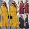 Deenor Summer Vintage Women Dresses Polka Dot Print V Neck Bandage Elegant Midi Dress Boho Beach Party Clothing 2021 Vestidos 3