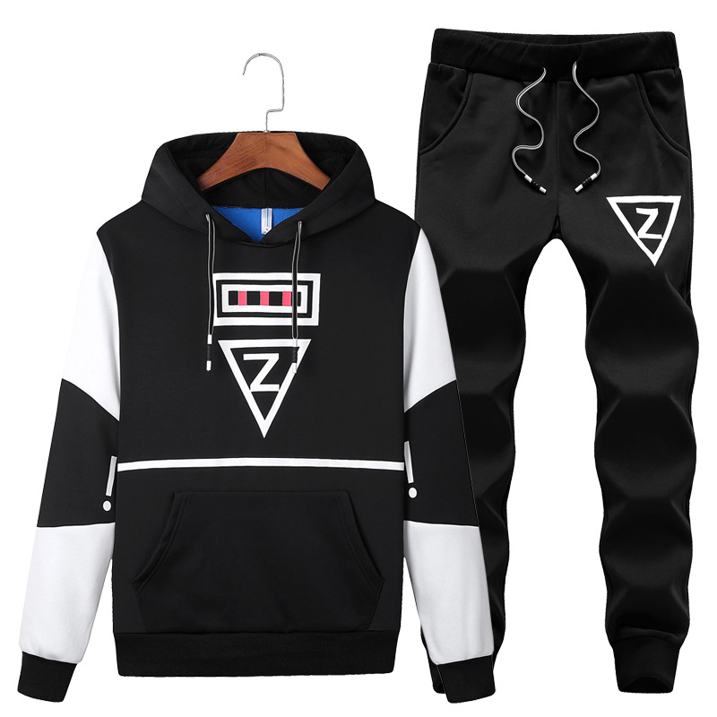 Men Leisure Sports Suit Long Sleeve Large Size Korean-style Hooded Pullover Hoody Trousers Two-Piece Set Fashion