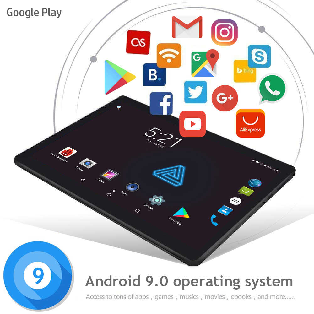 2020 nueva tableta de 10 pulgadas Android 9,0 Octa Core 6GB RAM 64GB 128GB ROM 3G Wifi Bluetooth GPS llamada de teléfono tableta