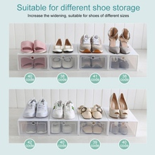 1-Plastic Foldable Storage Shoes Box Stackable Shoe Racks for closets and entryway Shoe Storage Stackable Clear Shoe Storage
