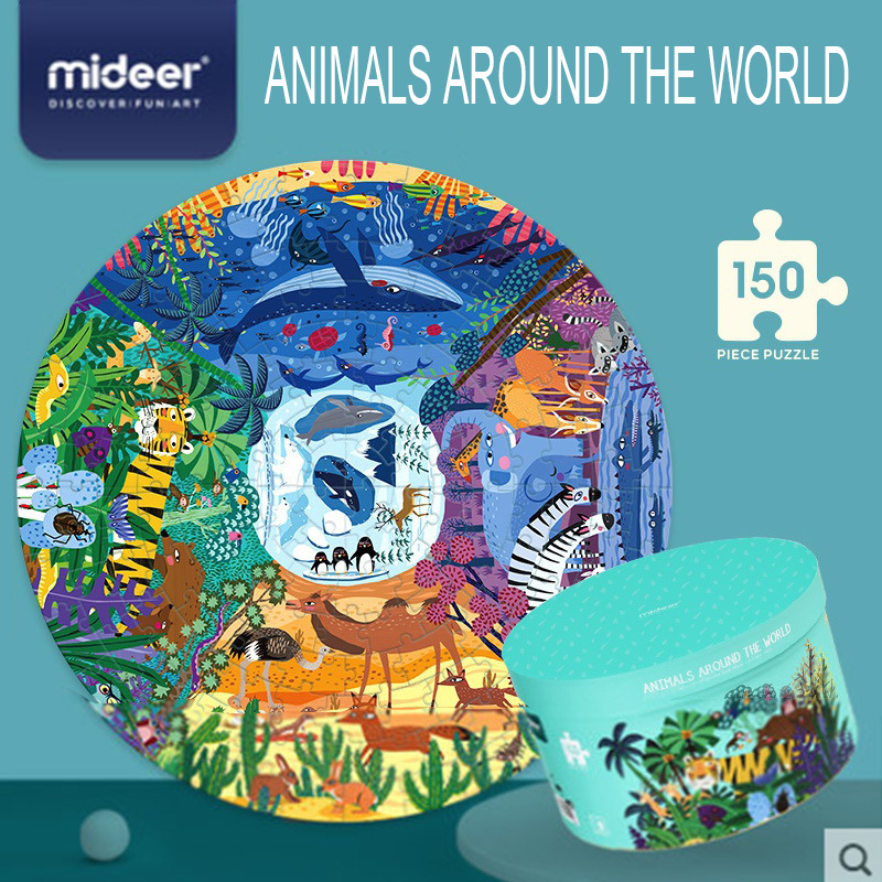 MiDeer 150PCS Puzzles Toys World Animals Educational Toys Hand-painted Jigsaw Board Style Puzzles Box Set For Kids Gifts 3Y+