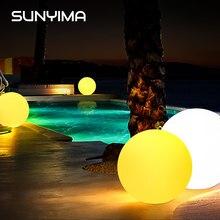 Sunyima 1pc bola de incandescência controle remoto led luz solar powered fulgor globo bola inflável piscina luzes