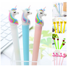Nouveauté fantaisie mignon Kawaii flamant rose licorne Gel stylo Animal ours baleine paillettes couleur haricot Sprout école fournitures de bureau papeterie(China)
