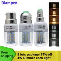 Bombilla led E27 E14 B22 super 4W dimmer bombillas de maíz 110v 220v atenuación foco 360 grados iluminación del hogar 3014 chip E 27 lámpara