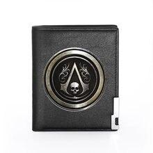 Portefeuille en cuir Pu pour hommes et garçons, porte-cartes de crédit pliable, noir Cool, avec impression tête de mort, petit porte-monnaie masculin
