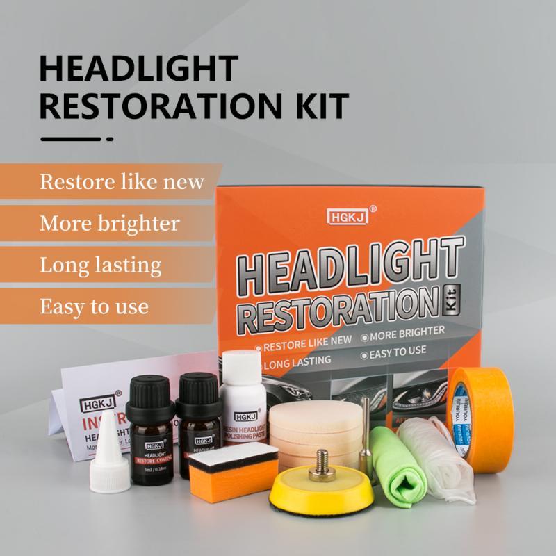 HGKJ Headlight Restoration Kit Headlight Retreading Agent Kit 5ml/10ml/30ml A Bottle And Color Box Set Optional 2019