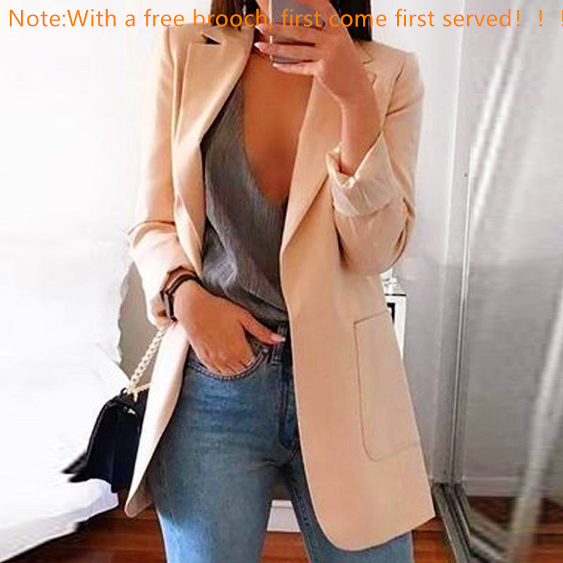 2019 Autumn Women Slim Blazers Jacket Work Office Lady Tops Khaki Pockets Casual Notched Blazer Coat Fashion Female