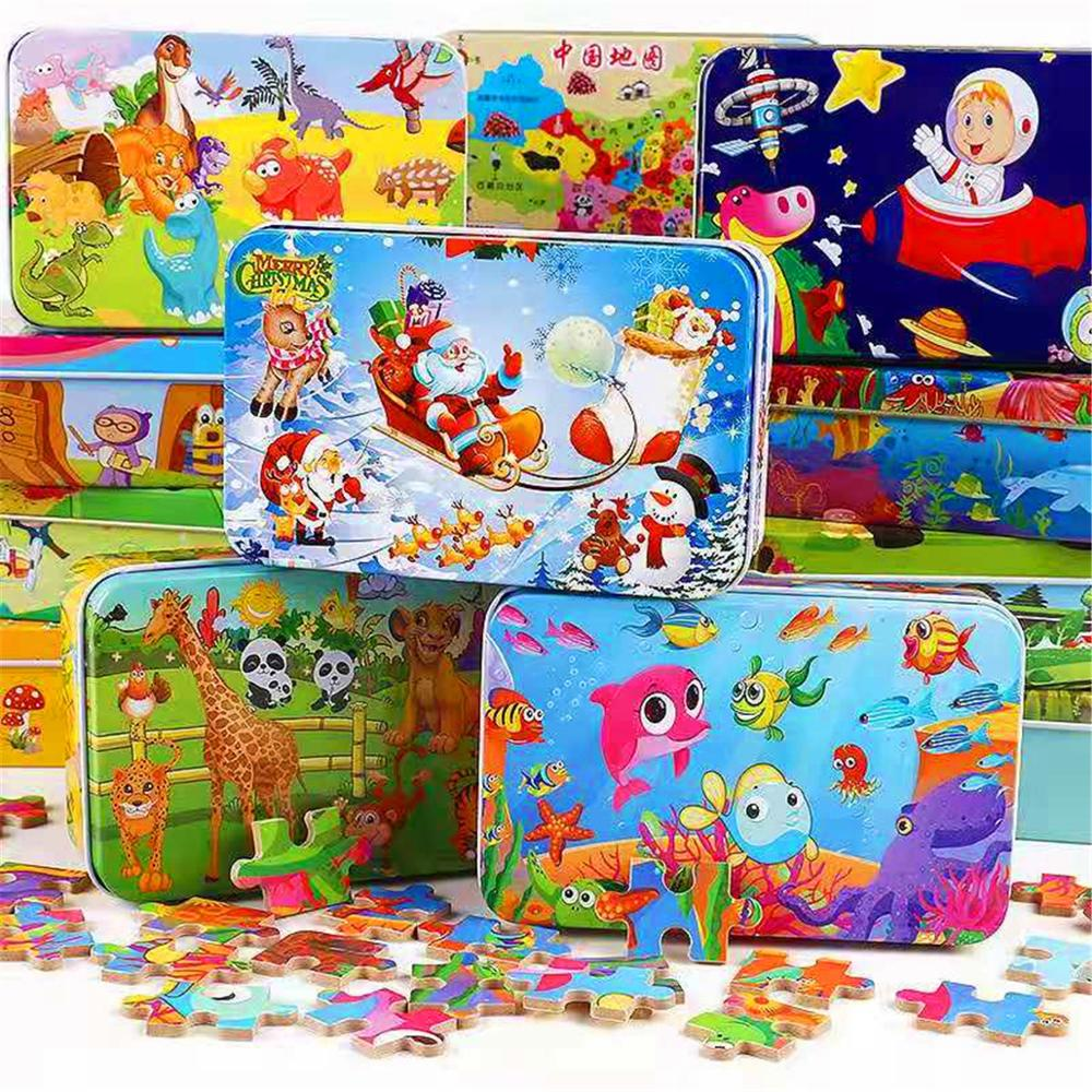 60Pieces Wooden Puzzle Kid Toy Cartoon Animal Wood Jigsaw Puzzle Child Early Educational Learning Toy  Christmas Gift+ Iron Box