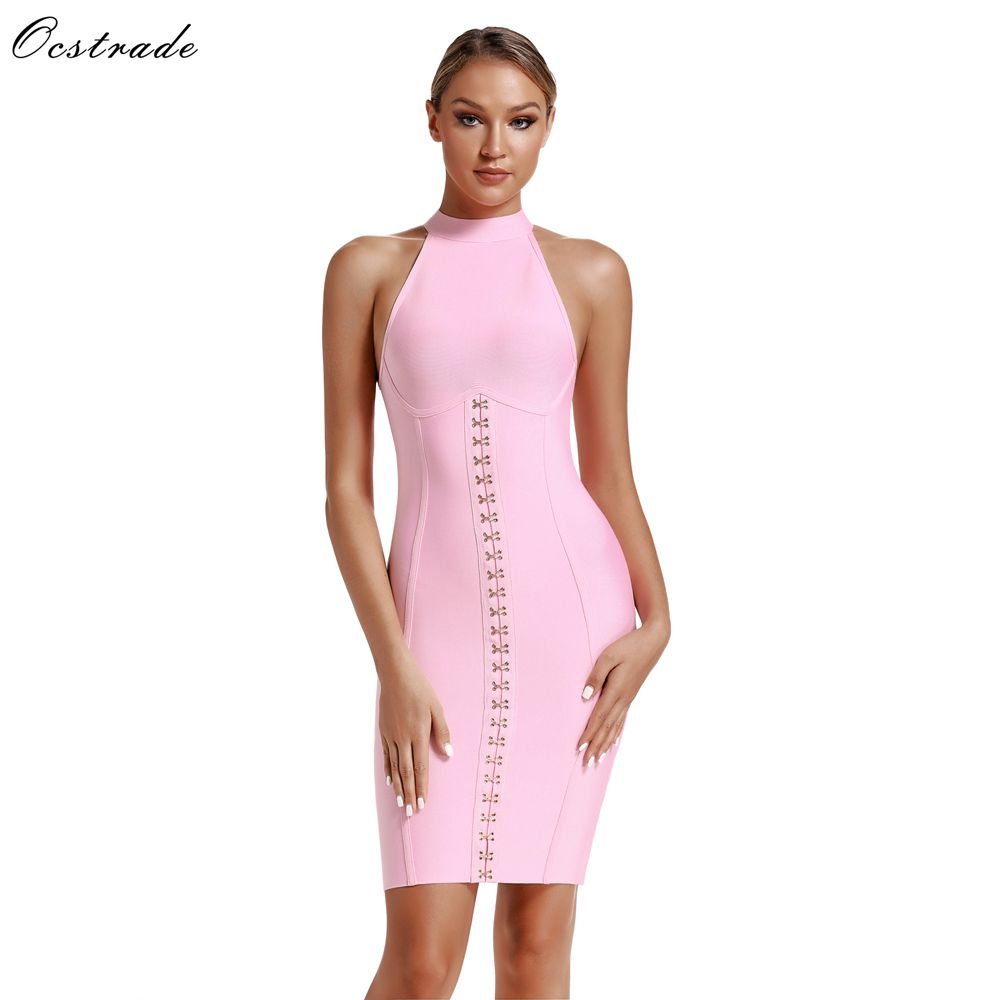 Ocstrade Rayon Bandage Dresses 2019 New Arrivals Women Sexy Sweet Pink Bandage Dress Bodycon Night Club Party Dress