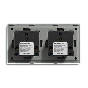 Image 5 - BSEED Wifi Double Socket EU Standard Wall Socket 16A 110V 250V White Black Gloden Crystal Glass Panel For Smart Home