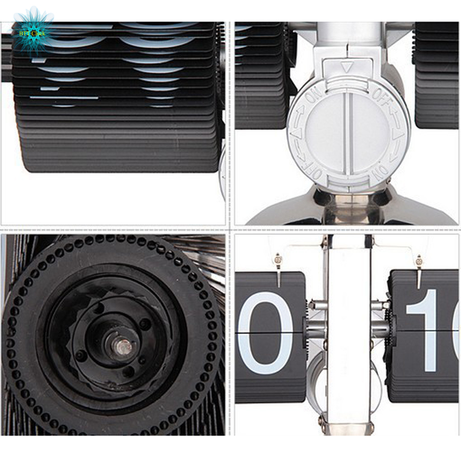 Horloge d'étagère de bureau à rabat de Style rétro horloge classique à affichage numérique mécanique à piles-décor pour la maison et le bureau - 6