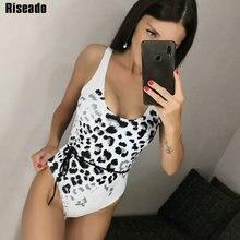 Riseado Sexy Belted One Piece Swimsuit 2020 Leopard Print Swimwear Women U-back Bathing Suits Summer Beach Wear