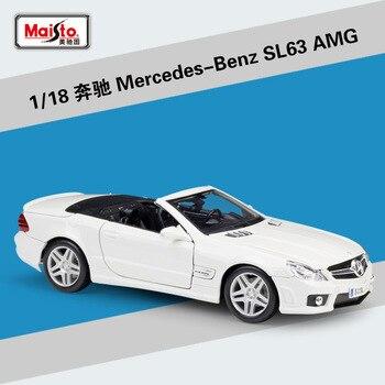 1/18 mercedes-benz SL63 AMG aleación Diecast Maisto modelos de coches de simulación de Metal coche miniaturas minicure Mini coche colección Juguetes