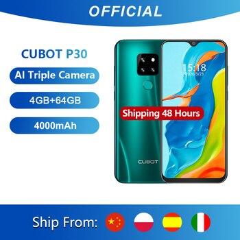 Cubot P30 Smartphone 6.3 Pollici 2340x1080p 4GB + 64GB Android 9.0 Helio p23 AI Posteriore Tripla Fotocamere Dual SIM Supporto FACE ID, Impronte Digitali 4G Cellulare Batteria 4000mAh Octa Core 1
