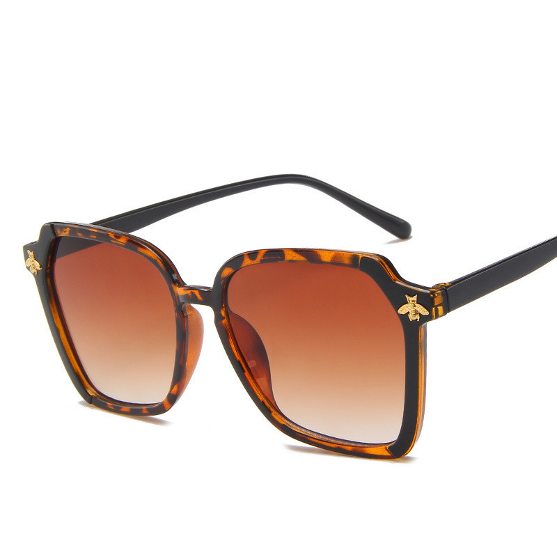 Vintage Women Plastic Sunglasses Brand Designer Retro Bee Polygon Luxury Brown Leopard Female Gradient Sun Glasses UV400
