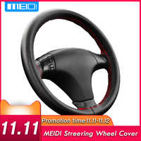 Couvre-volant de voiture MEIDI convient au diamètre extérieur de 37-38CM bricolage tresse en cuir véritable sur le volant de voiture