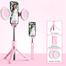 4in1 Wireless bluetooth Selfie Stick LED Ring light Extendable Handheld Monopod Live Tripod for iPhone X 8 Android smartphone