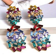 Boucles d'oreilles longues en cristal coloré, à la mode, à strass, goutte, accessoires de bijouterie pour femmes, nouvelle collection