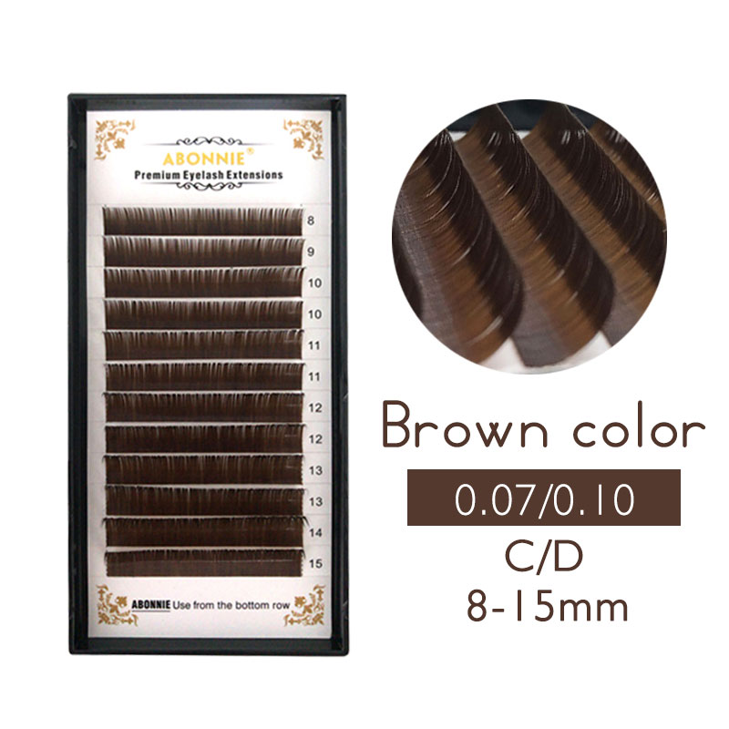 0.07/0.10 C D False Eyelashes Individual Eyelash Extension Color Fake Eye Lashes Mink Eyelash Extension 100% real Dark Brown