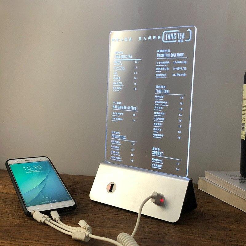 Customized LED Night Light 3D NightlightS Acrylic Billboard Milk Tea Coffee Store Restaurant Bar Glow Menu Brand Table Lamp USB