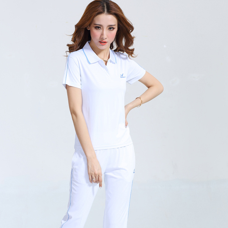 Ao Mi Da Spring And Summer New Style Men And Women White Short Sleeved Sports Set COUPLE'S Large Size Sports Clothing Groups Cas