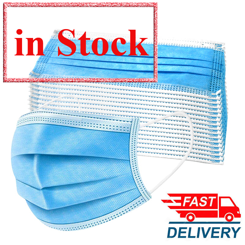 IN STOCK 50 PCS Fast Shipping 3 Layers Disposable Mask Anti-dust Anti-virus Mask Professional Flu Mouth Mask Safety