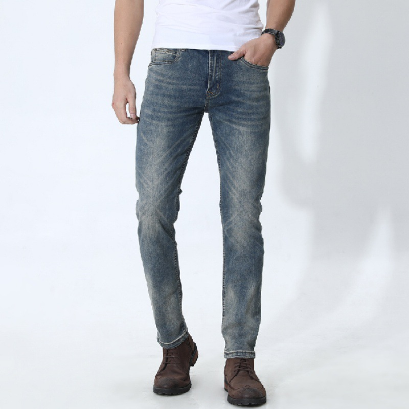 New Style Elasticity Jeans Men's Slim Fit Small Feet Long Pants Trend Of Fashion Ripped Pants [QQ Group: 58411717