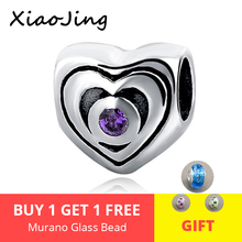 Fit Authentic pandora charm Bracelets 925 sterling Silver love heart beads with purple CZ diy fashion Jewelry making for women