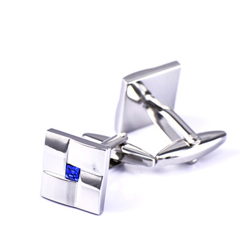 High Quality Classic  Simple Blue Crystal Cufflinks 5
