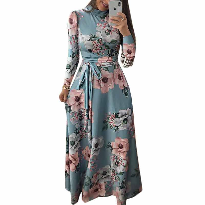 Women Long Dress Floral Print Beach Maxi Dress Casual Long Sleeve Turtleneck Bandage Elegant Long Party Dress Vestidos Plus Size in Dresses from Women 39 s Clothing