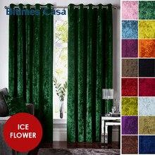 Padrão de flor gelo veludo blackout janela cortinas para o quarto sala estar interio decoração alta sombreamento esmagado