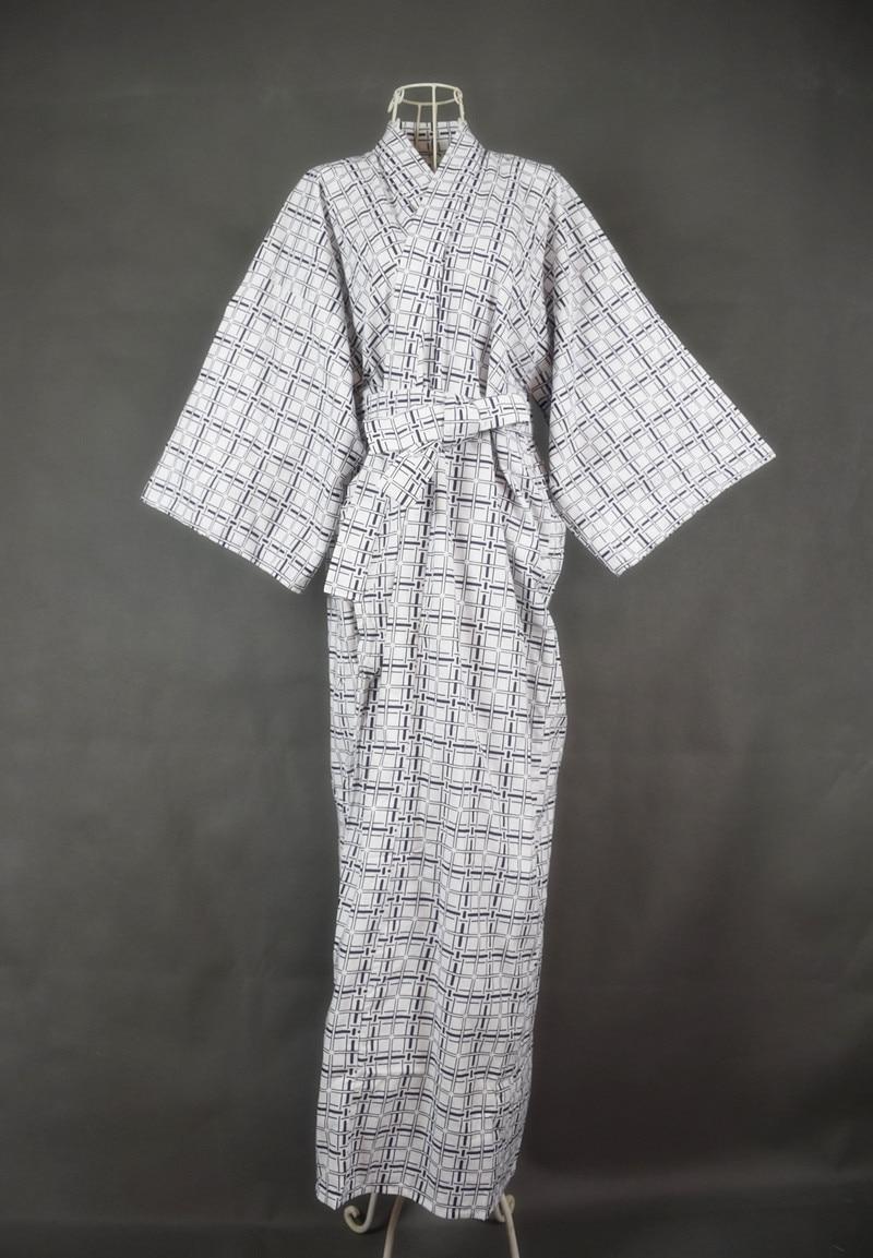 2020 Cool Traditional Japanese Male Kimono Men's Robe Yukata 100% Cotton Men's Bath Robe Kimono Sleepwear With Belt 62502