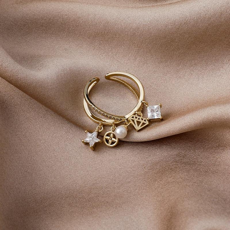 Женское кольцо с подвеской-крестом, универсальное Открытое кольцо со звездой, корейский стиль, 2021