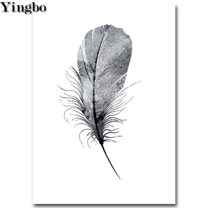 5D DIY Алмазная картина в скандинавском стиле с перьями и крестиком Алмазная вышивка мозаика черно-белая художественная полная дрель квадратная круглая