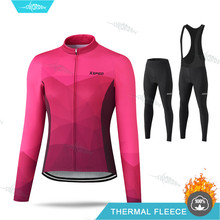 Women Cycling Clothes Long Sleeve Jersey Set Thermal Fleece Cycling Clothing Ropa Ciclismo Invierno Mujer Pro Team MTB Uniform(China)