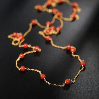DAIMI Gypsophila południowego czerwonego agat kamieni szlachetnych łańcuch sweter kobiety oryginalne żółte 14K wstrzykiwania złota długi łańcuch tanie i dobre opinie Łańcuszki naszyjniki Brak Zaręczyny Inny materiał Natrual Wąż łańcuch DMBS003 PLANT Klasyczny Grzywny 4-4 5mm