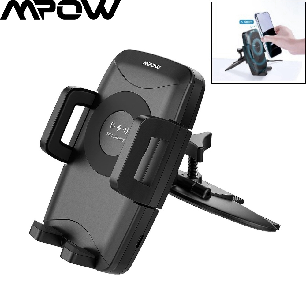 Mpow Black Universal Chargable Wireless Charger Car Phone Stand 3 Charging Powers CD Slot Car Phone Stand Wireless Car Charger