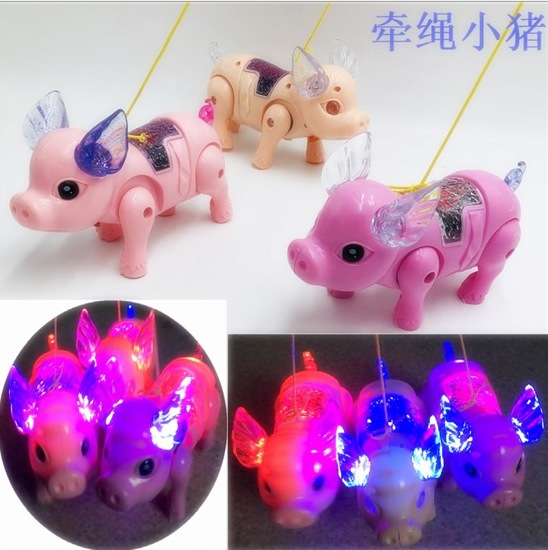 New Style Electric Leash Pigskin Creative Light Concert Walk Doll Momo Pig CHILDREN'S Toy Stall Hot Selling