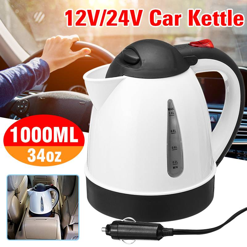1000ML Car Hot Kettle Water Heater Travel Auto Heating Cup 12V/24V For Tea Coffee 304 Stainless Steel Large Capacity Vehicle