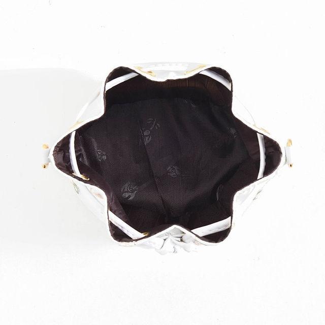 Luxury  Embroidered PU Leather Chain Crossbody Bucket Bag 5
