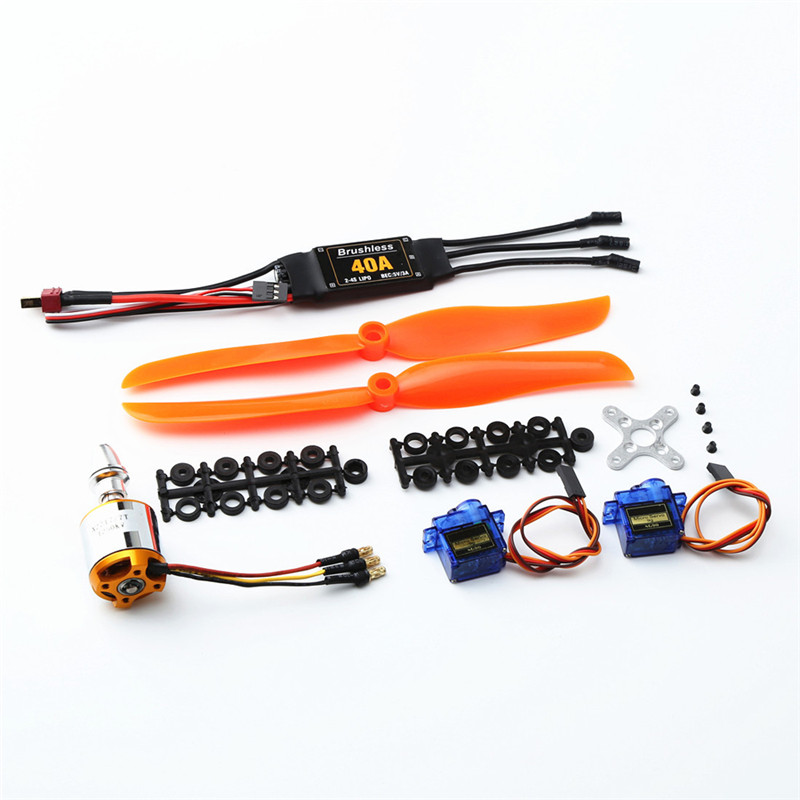 XXD <font><b>2217</b></font> KV1250 Brushless Motor+8060 Propeller Blade*2++9g Servo*2+40A ESC RC Power System Combo For RC Airplane Racing Drone image