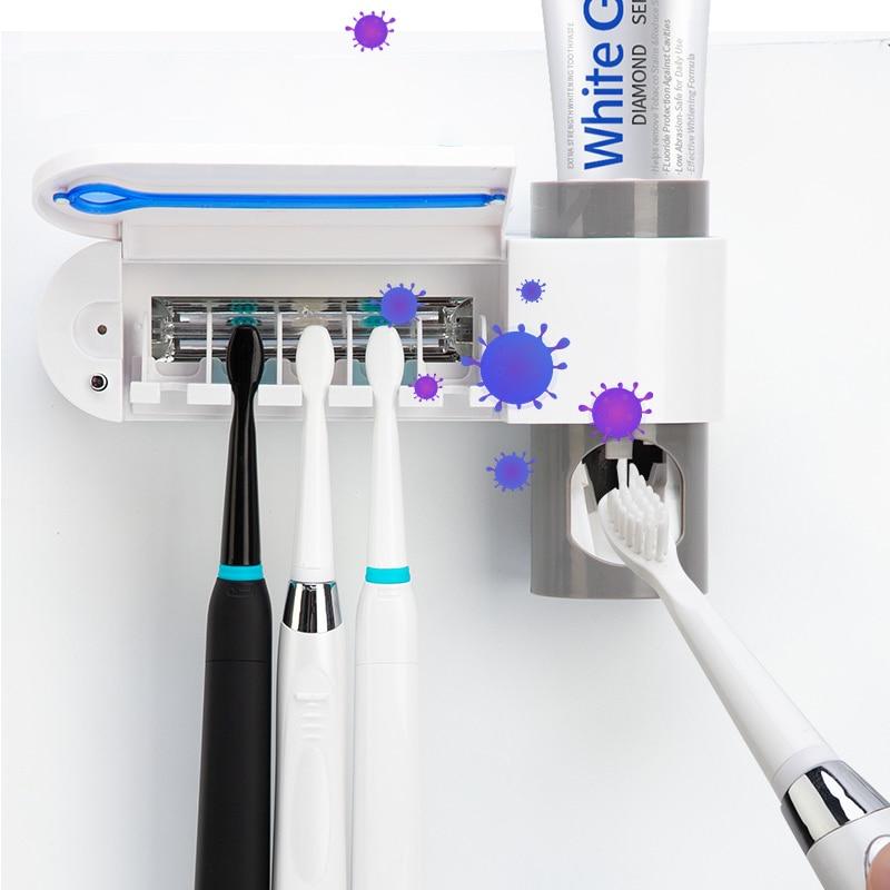 Escova de dentes ultravioleta esterilizador creme dental dispensador antibactérias titular escova de dentes automático banheiro espremedores de dentes