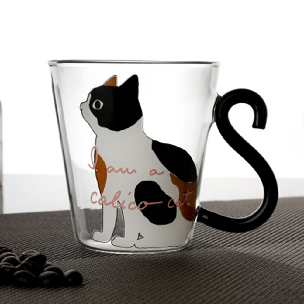 300ML Cute Creative <font><b>Cats</b></font> Printed Glass Mug <font><b>Cup</b></font> Lovely Handle Juice Milk Coffe Mug Water Bottle Home Office <font><b>Cup</b></font> For Love Couples image