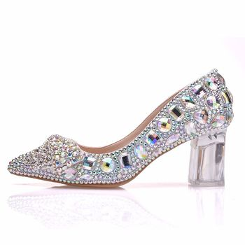 7 cm crystal transparent  thick with Single shoes color diamond bowknot pointed Wedding shoe stage luxury shoes women designers